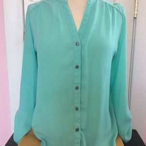 Turquoise top with lace inset in back